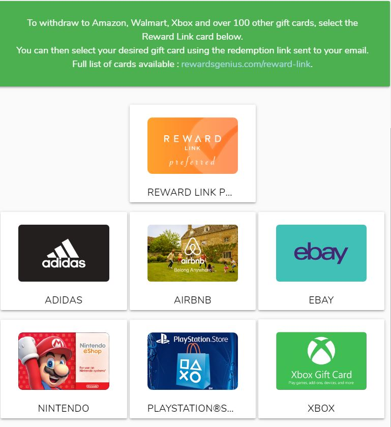Gain.gg redemption page lets you earn gift cards and PayPal cash.