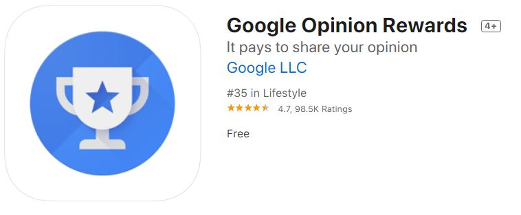 Google Opinion Rewards survey app review.