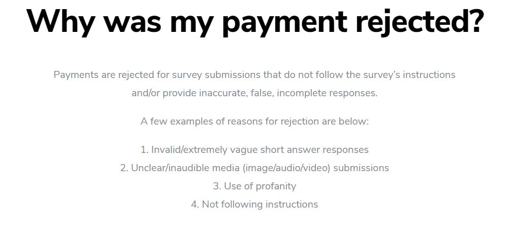 Payment rejected by Surveys On The Go.